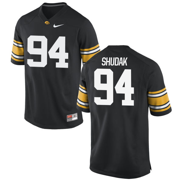 Men's Nike Caleb Shudak Iowa Hawkeyes Game Black Football Jersey