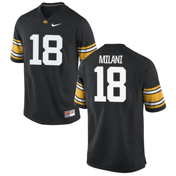 Men's Nike John Milani Iowa Hawkeyes Game Black Football Jersey