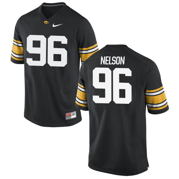 Men's Nike Matt Nelson Iowa Hawkeyes Game Black Football Jersey