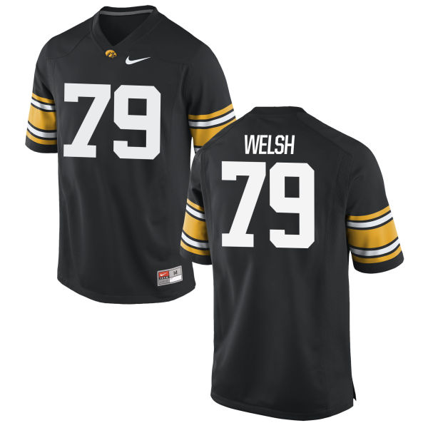 Men's Nike Sean Welsh Iowa Hawkeyes Game Black Football Jersey
