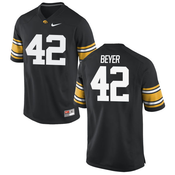 Men's Nike Shaun Beyer Iowa Hawkeyes Game Black Football Jersey