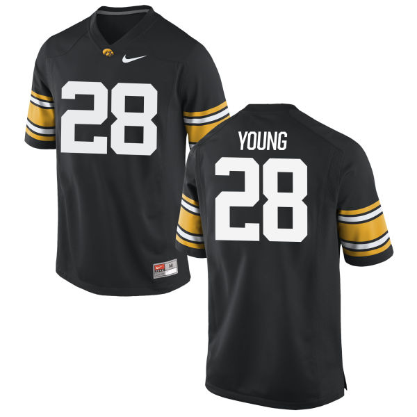 Men's Nike Toren Young Iowa Hawkeyes Game Black Football Jersey