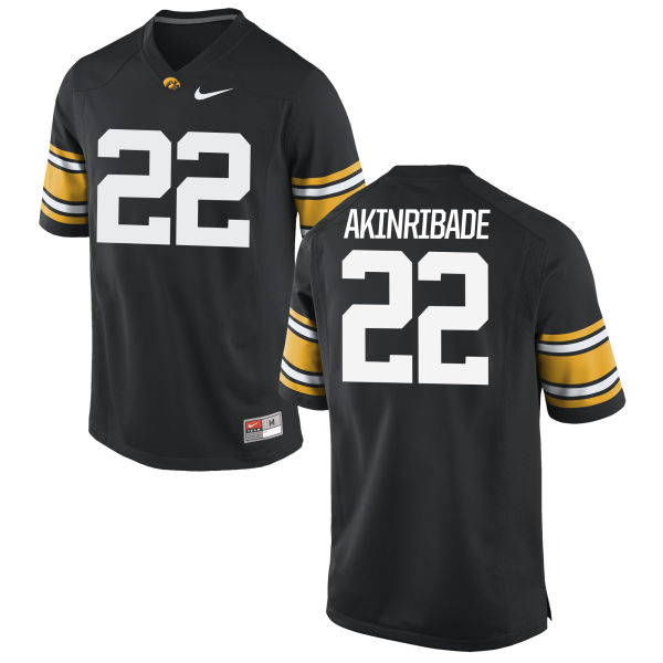 Men's Nike Toks Akinribade Iowa Hawkeyes Game Black Football Jersey